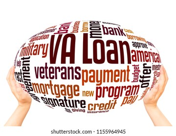 VA loan word cloud hand sphere concept on white background.