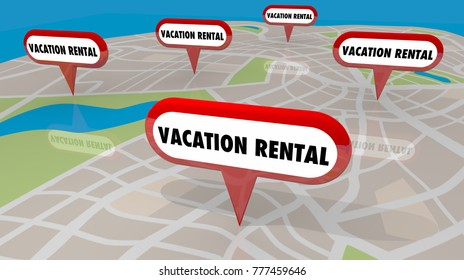 Vacation Rentals Getaway Stay Map Pins Locations 3d Illustration