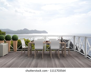 vacation scenery with beautiful terrace, patio or balcony with a view to the mediterranean sea - 3D rendering