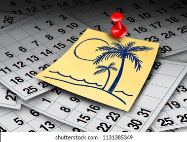 Vacation time calendar and beach holiday or annual leave and work break concept with 3D rener elements.