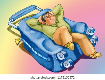 vacations relax stretched out man on a confortable minimalism, baggage, suitcase air happy and calm humorous sketch