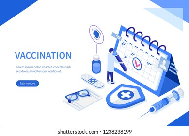 Vaccination concept. Can use for web banner, infographics, hero images. Flat isometric  illustration.