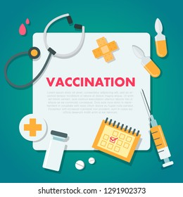 Vaccination concept illustration. Medical document with medicine and equipment.