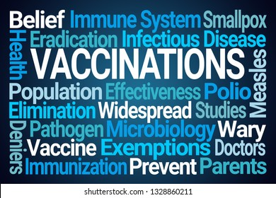 Vaccinations Word Cloud on Blue Background