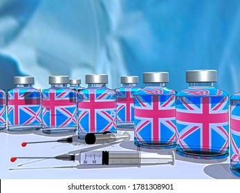 vaccin contre la covid-19 immunogenicité du coronavirus , anglais grande-bretagne drapeau oxford university - rendu 3d