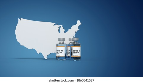Vaccine is available for the US citizens - 3D rendering