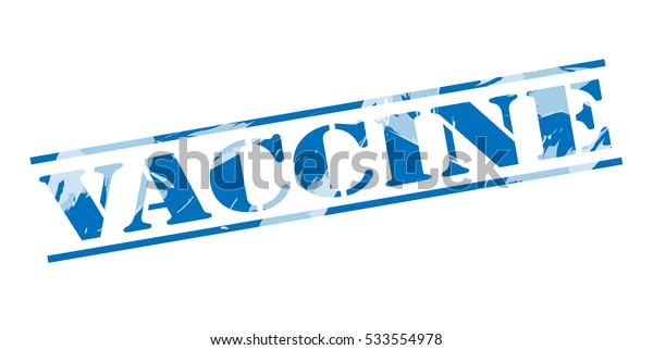 vaccine blue stamp on white background