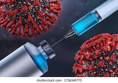 Impfstoff Coronavirus covid-19 ncov 2019 Virusinfektionsforschung, Test, Analyse. Coronavirus SARS-CoV-2 Behandlung Impfstoff-Impfstoffinjektionstest, Immunisierung, Vorbeugung, 3D-Illustration