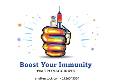 vaccine. Time to vaccinate and boost your immunity system against COVID-19 coronavirus disease concept, hand holding Syringes and Vaccine bottles. Vaccine is highly effective, work and safe