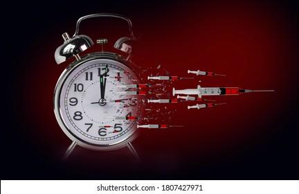 vaccination vaccin antivaccination antirétrogradation de l'horloge en espèces - rendu 3d