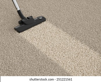 Vacuum cleaner hoover on the dirty carpet. House cleaning concept
