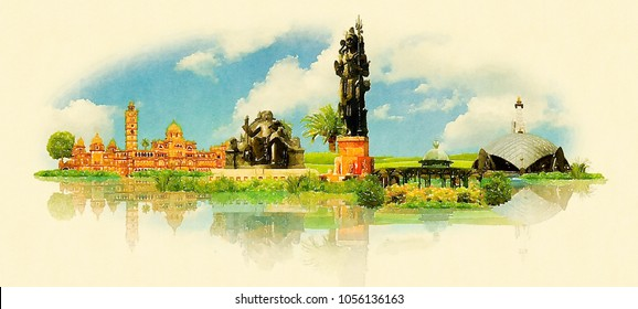 Vadodara City Watercolor Panoramic Skyline Illustration Artwork