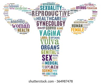 Vagina, word cloud concept on white background.