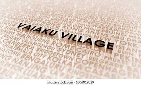 Vaiaku Village lettering, 3d illustration of world's cities.