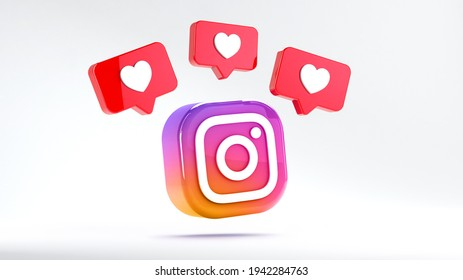 Valencia, Spain - March, 2021: Isolated Instagram logo camera icon with like notifications. Free social media app for mobile devices for sharing photos and videos with other people of the network