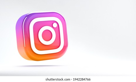 Valencia, Spain - March, 2021: Isolated Instagram logo camera icon, gradient colorful symbol for smartphones. Free social media app for sharing photos and videos with other people of the network