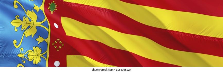 Valencian flag. 3D rendering Waving flag design. The national symbol of Valencia.  3D Waving sign design. Waving sign background wallpaper. 3D pattern background download HD wallpaper graphics