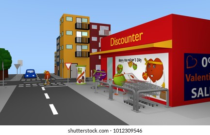 Valentin City: City view with discount stores, streets, houses and hearts. 3d rendering