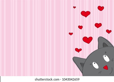 Valentine card with funny grey cat looking from the corner of the page - original hand drawn illustration