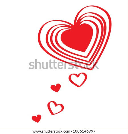 Valentine Card Draw Line Red Color Heartshaped Stock Illustration