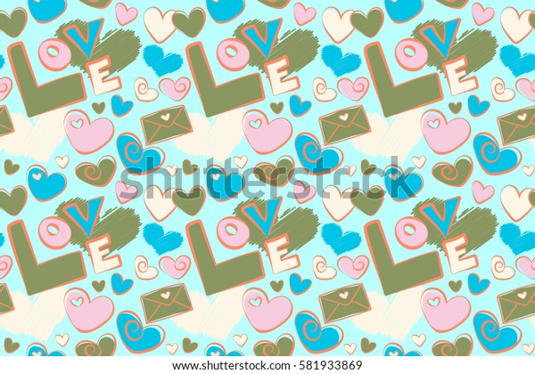Valentine colorful hearts seamless pattern raster illustration over a green background. Seamless doodle elements.