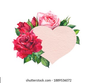 Valentine day card with paper heart and roses. Watercolor hand painted flowers for wedding design