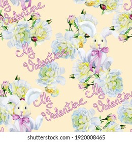Valentine Day Flower Bunnies watercolor colorful illustration print pattern