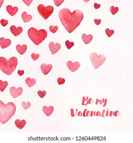 Valentine Day Hearts card watercolor texture gentle