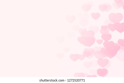 Valentine day pink hearts on pink rose background.