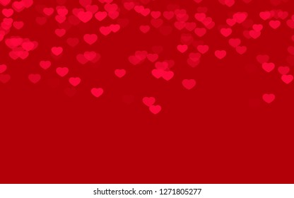 Valentine day red hearts on red background.