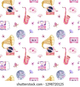 Valentine Day Seamless Pattern with retro elements. Gramophone. Pink saxophone. Retro phone. Fly me to the moon. Cassette.