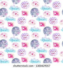 Valentine Day Seamless Pattern with retro elements. Speech bubbles. Fly me to the moon. Love bubbles