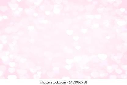 Valentine day white hearts on pink background.