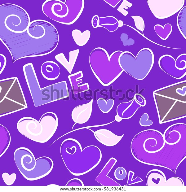 Valentine design. Violet and purple design template for holiday and wedding card, wallpaper. Colorful hearts, flower and love text seamless pattern.