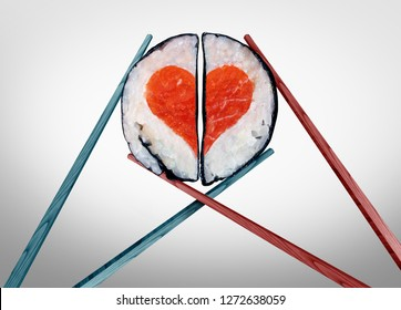 Valentine dinner for two as a saint valentines celebration of love with food as chopsticks coming together joining as a romantic couple with sushi shaped as a heart with 3D illustration elements.