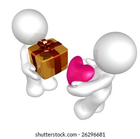 Royalty Free Stock Illustration Of Dummy Figure Giving Heart Gift