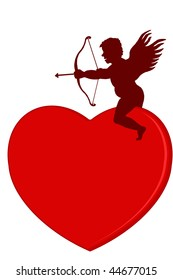 Valentine heart with Cupid, isolated on a white background
