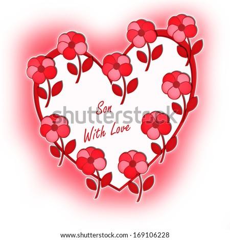 Valentine Heart Flowers Son Love Stock Illustration 169106228