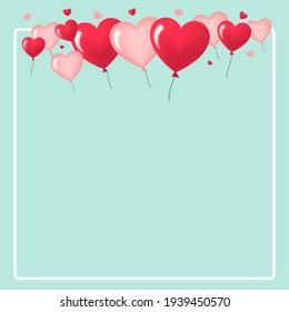 valentine hearts background with ballons flying on sky