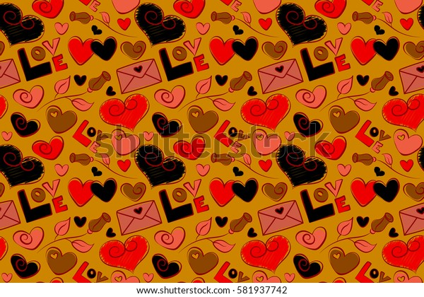 Valentine raster seamless pattern with letter, rose flower and hearts. Perfect image in orange, yellow and red colors for wallpaper, web page, textile, greeting cards and wedding invitations.