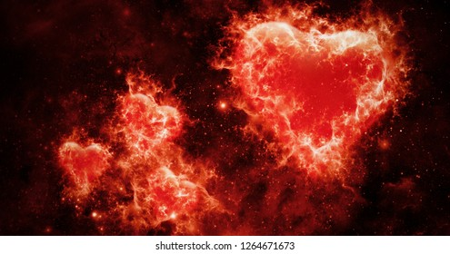 Valentines abstraсt  background with fire burn colorful hearts .Love card . Wedding party flyer or  printing, cards, etc.
