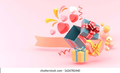 Valentines  banner template. Valentines day promotion with The heart out of the gift box on pink background. -3d rendering for website , posters,ads, promotional material.