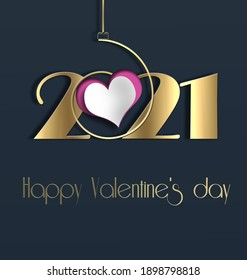 Valentines day 2021 heart realistic, golf digit 2021. Text Happy Valentines day. 3Dillustration. 2021 year of Valentine love concept