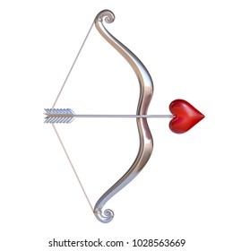 Valentine's day 3d icon, cupid bow and arrow with the heart