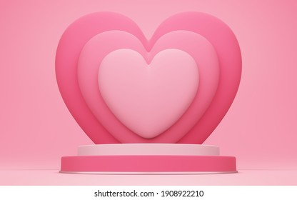 Valentine's day, 3D illustration of round podium or pedestal with red empty studio room, product background with heart overlap behind, mockup for love concept display