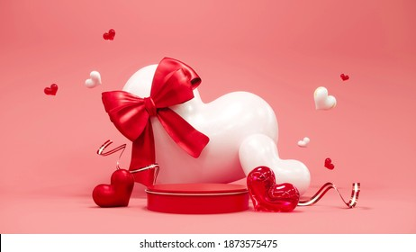 Valentine's day abstract background with red hearts and podium showcase for product presentation. February 14, love. Romantic wedding greeting card. Women's, Mother's day. 3d rendering.