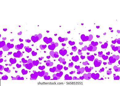 valentine's day background abstract with purple heart on white