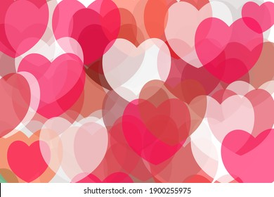 Valentine's day background with many red colored hearts.
