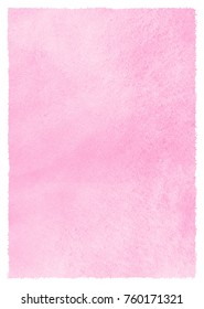 Valentines day background with pink watercolor stains and uneven artistic edges. Hand drawn abstract aquarelle template. Rectangle shape. Light rose watercolour Women Day texture. Pastel color fill.