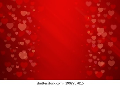 Valentine's Day background with red abstract bokeh heart shape for Valentine's greeting card.